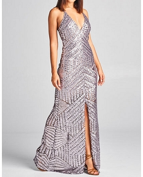 Sequins Deep V-Neck Formal Dress w/Open Back- 4 Colors