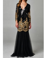 L/S Black and Gold Sequins Mermaid Evening Gown