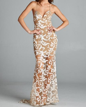 Nude and White Lace Halter Formal Dress