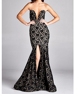 Sweetheart Strapless Lace Mermaid Formal Gown