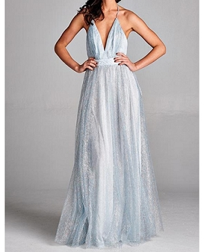 Metallic Mesh Halter Long Dress- 2 Colors