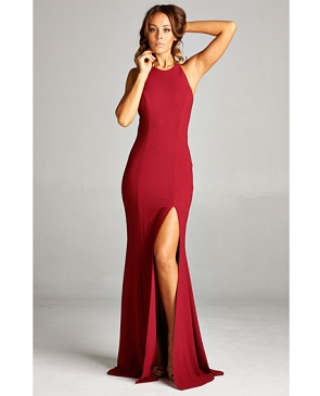 Burgundy Racerback Formal Dress