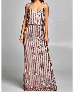 Blush and Rose Gold Mutli Color Sequins Evening Dress