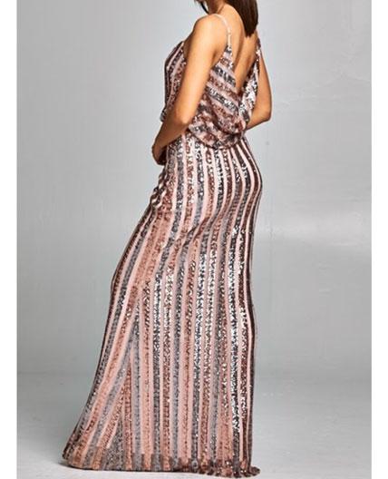 Blush Evening Dress Blush Sequins Evening Dress Blush Formal Dress