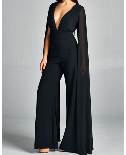 Navy Jumpsuit Black Jumpsuit Jumpsuit With Sleeves Elegant