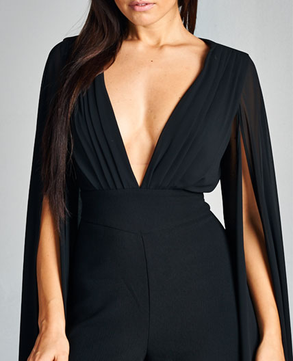 Navy Jumpsuit Black Jumpsuit Jumpsuit With Sleeves Elegant