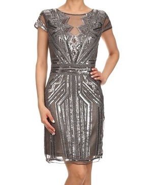 Peuter Beaded Trim Cocktail Dress