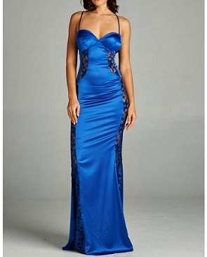 Satin Formal Dress w/Lace Side Panels- 2 Colors