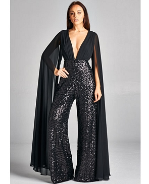 Black Cape Style Sequins Jumpsuit