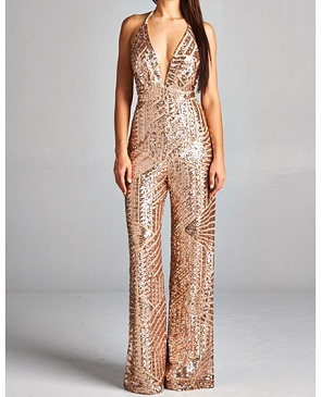 Sequins Halter Jumpsuit- 2 Colors