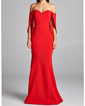 Red Off the Shoulder Evening Dress