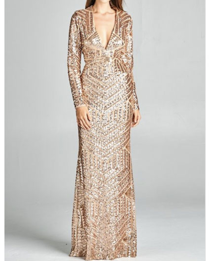 Long Sleeve Gold Sequins Evening Dress Silver Sequins
