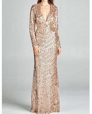 Long Sleeve Sequins V-Neck Evening Dress- 2 Colors