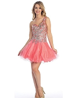 One Shoulder Sequins Tulle Short Dress- 2 Colors