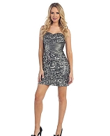 Strapless Silver Sequins Short Dress