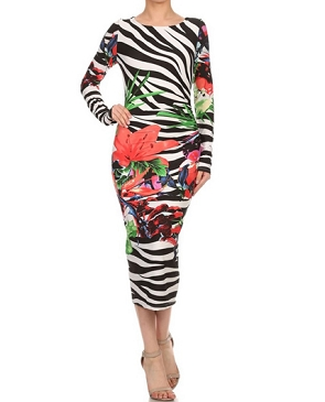 L/S Zebra Tropical Print Midi Dress