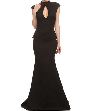 Scuba Mockneck Evening Dress w/Open Back and Ruffles- 2 Colors
