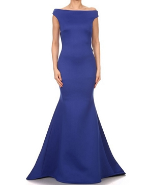 Scuba Boat Neck Formal Dress w/Open Back- 2 Colors