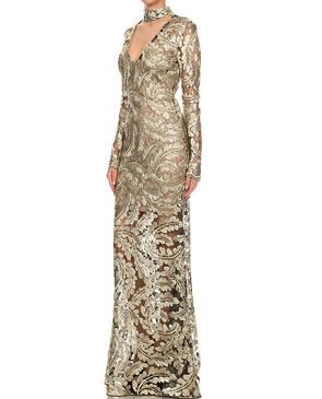 L/S Metallic Lace Evening Dress w/Choker- 2 Colors