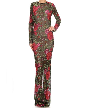 L/S Floral Embroidered Evening Dress