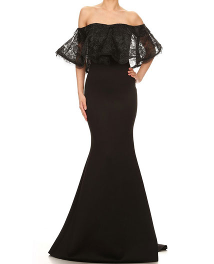 Off The Shoulder Scuba Evening Dress Prom Dress Miami Shop Evening