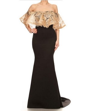 Scuba Black Off the Shoulder Gown w/Lace Ruffle- 2 Colors