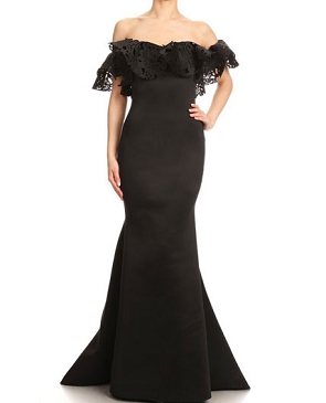 Off the Shoulder Scuba Gown w/Ruffles- 3 Colors