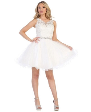 Lace  andTulle Short Puffy Dress- 3 Colors