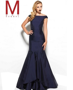 Navy Boat Neckline Mermaid Evening Gown