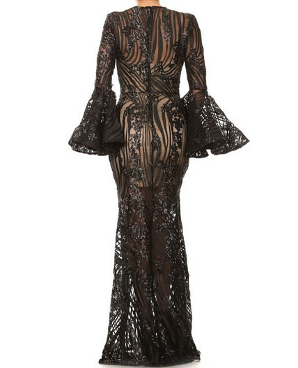 Long Sleeve Sequins Evening Dress Black Evening Dress With Bell