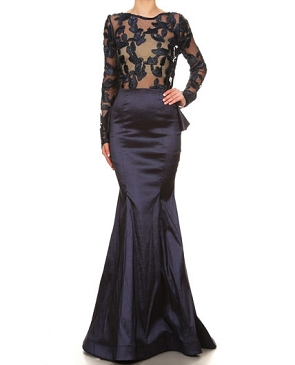 Long Sleeve Taffeta Mermaid Evening Gown w/Sheer Top- 3 Colors