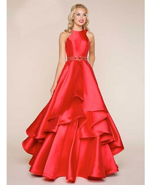 Red Layered Ball Gown w/Trims
