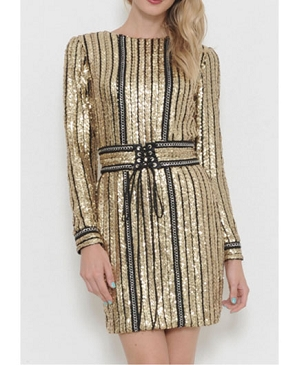 L/S Gold Sequins Short Dress w/Belt