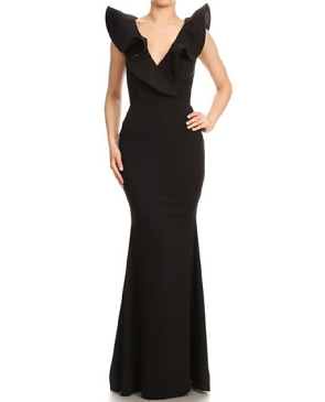 Black Formal Dress w/V-Neck Ruffle Neckline