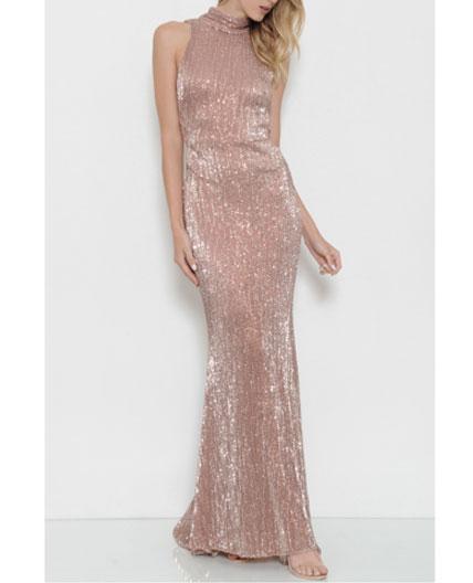 Rose Gold Sequins Long Dress Blush Formal Dress Pink Sequins