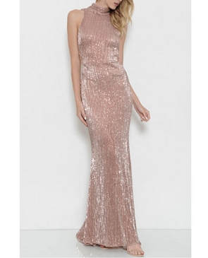 Rose Gold Sequins Long Formal Dress w/Side Cutouts