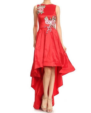 Taffeta Hi Low Dress w/Floral Patches- 2 Colors