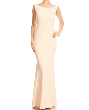 Solid Boat Neckline Formal Dress- 2 Colors