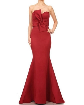 Strapless Scuba Formal Dress w/Bow- 2 Colors