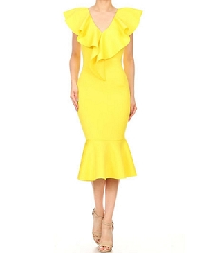 Scuba V-Neck Ruffle Midi Dress- 2 Colors