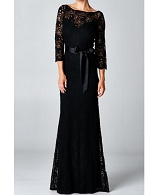 L/S Black Lace Formal Dress