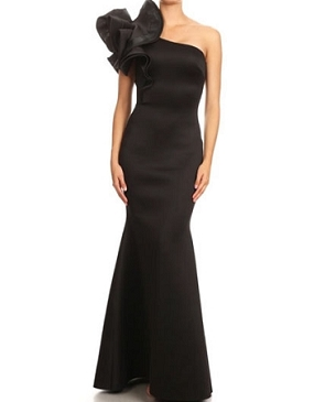 Black One Shoulder Scuba Evening Dress w/Dramatic Ruffle