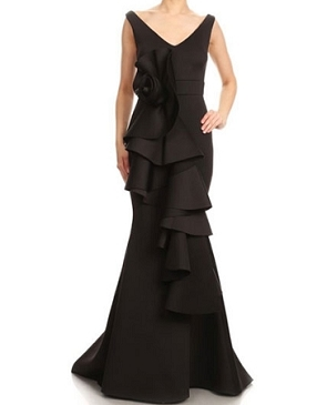 Scuba Formal Dress w/Dramatic Flower- 3 Colors
