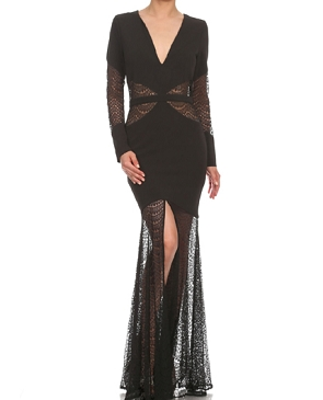 Black L/S Gown w/Lace Cutouts