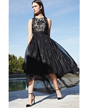 Black Hi Low Organza Dress w/ Leatherette Bodice