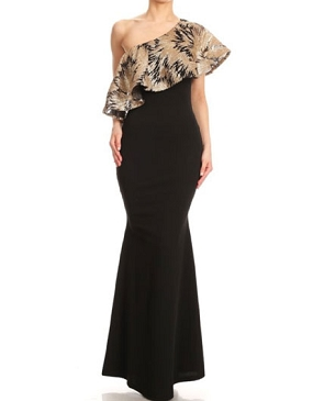 One Shoulder Formal Dress w/Dramatic Sequins Ruffle- 2 Colors