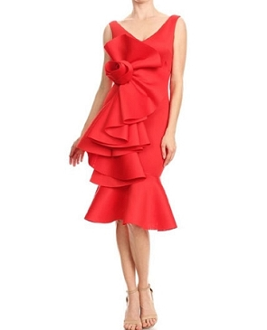 Scuba Cocktail Dress w/Roset Ruffle Trim- 2 Colors