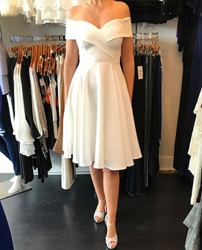 White Off the Shoulder Knee Length Dress