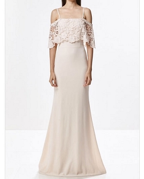 Off the Shoulder Formal Dress w/Guipure Lace- 2 Colors