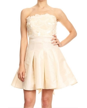 Taffeta Short Dress w/Sequins- 2 Colors
